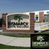 Bismarck State College recessed box sign panel with halo lighting