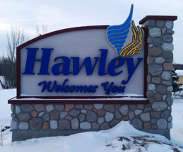Hawley Community Welcome Sign