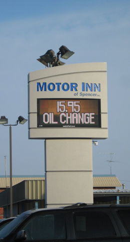 Installed Motor Inn sign