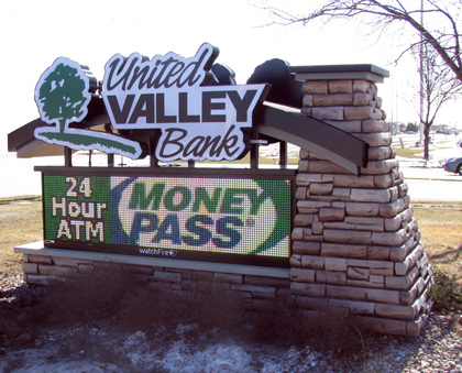Integrated Sign with Faux Stone Base