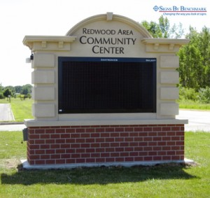 Installed custom integrated Redwood Falls School sign