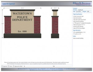 Watertown Police Department custom monument sign drawing