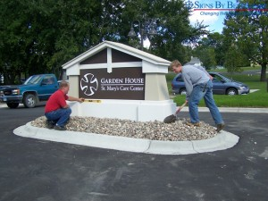 Installation of mission style custom monument sign