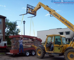 Installing Signs By Benchmark large custom monument sign