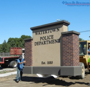 Installing custom monument sign for police department