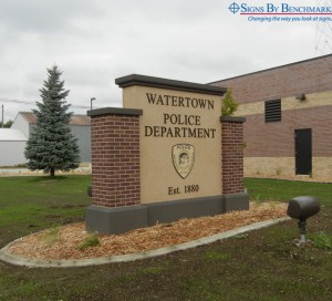 Installed custom monument sign for police department