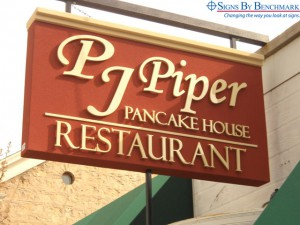 Signs By Benchmark projecting sign for PJ Piper restaurant