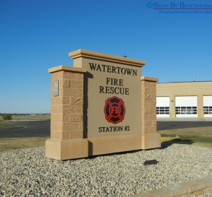 Custom monument sign for fire department