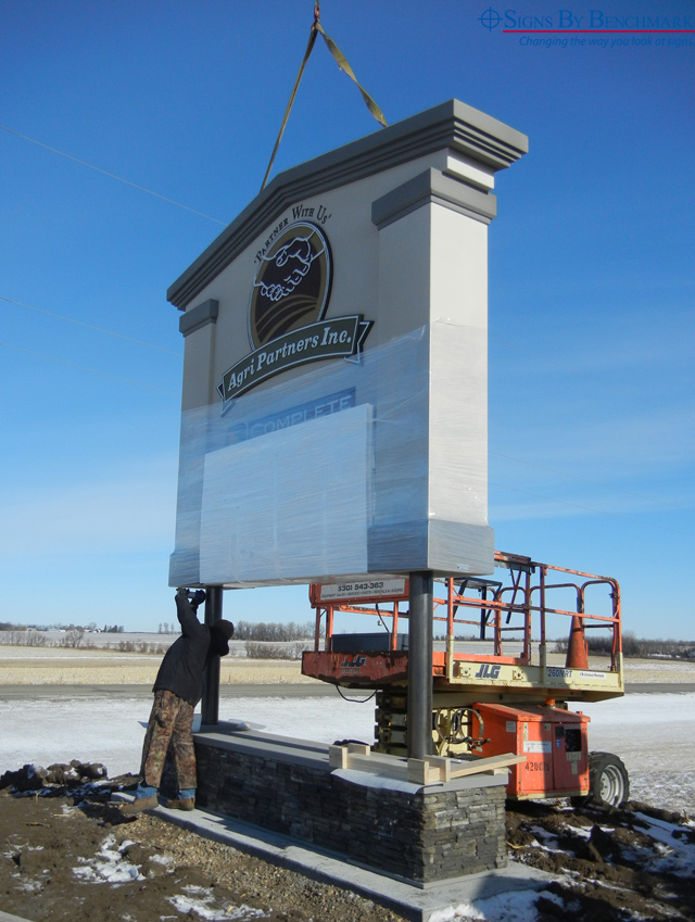 Installing Signs By Benchmar exterior monument sign for Agri-Partners