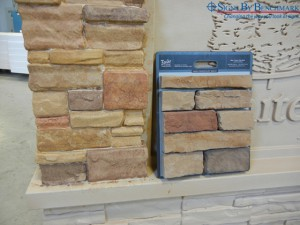 Matching Faux Stacked Stone for Custom Monument Sign