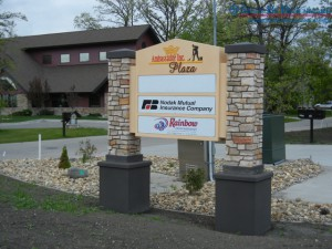 Installed custom post and panel exterior sign