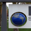Cellular plastic 3D globe architectural sign accent