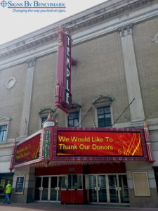 Installed theatre marquee